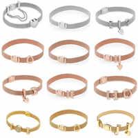 Véritable 925 argent Sterling or Rose Original réflexions Bracelet coffret cadeau pour les femmes perle breloque Pan Bracelet bijoux à bricoler soi-même