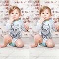 2016 Новорожденного Мальчика Девушки Фокс Ползунки Комбинезон Боди Одежда Костюмы 0-18 М Детские Боди Одежда