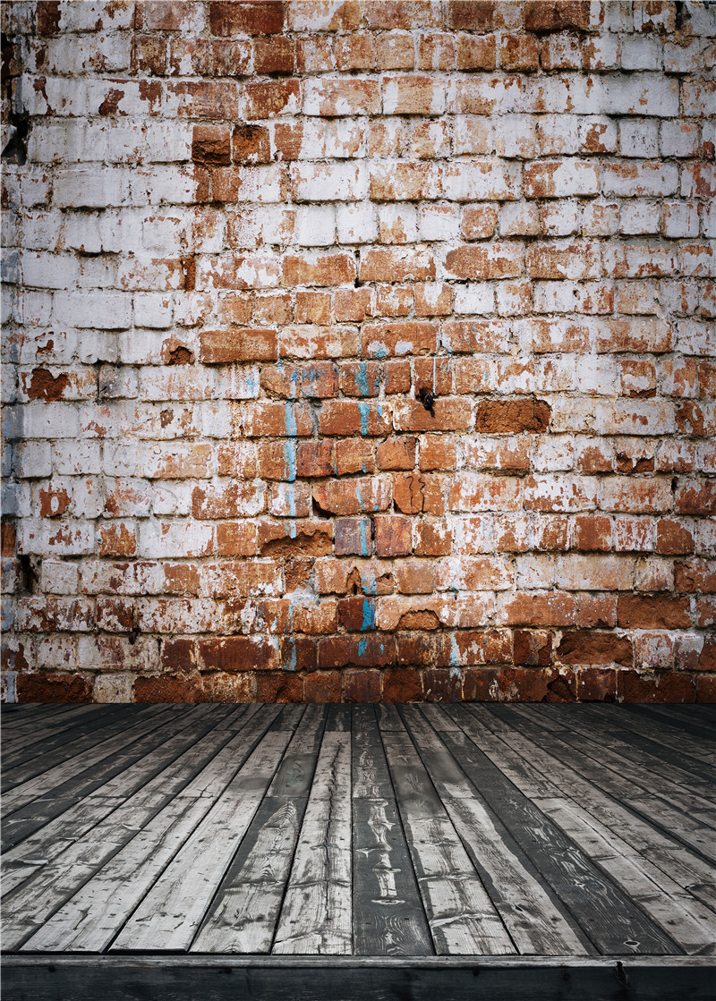 Brick Wall Photography Backdrops Vinyl Photo Props for Studio Retro Background Wooden Floor 5x7ft or 3x5ft Jieqx069 allenjoy photography backdrops neat wooden structure wooden wall wood brick wall backgrounds for photo studio