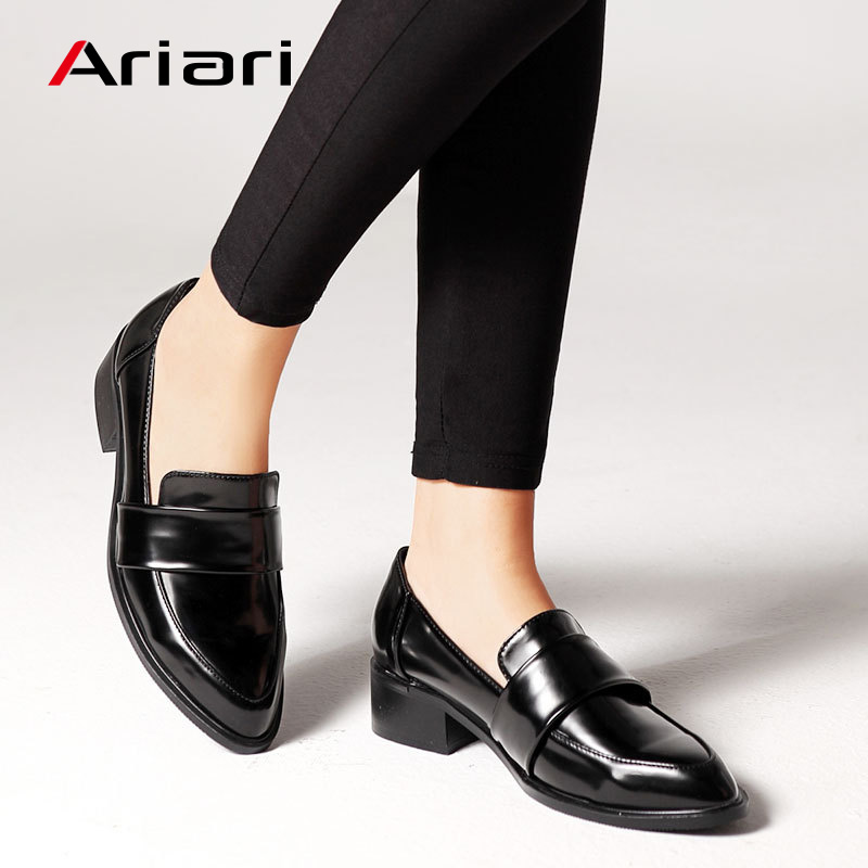 2019 New PU Leather Shoes Women Low Heel Women Pumps Casual Loafers Shoes Soft Bottom Retro Footwear Spring Summer Drop Shipping