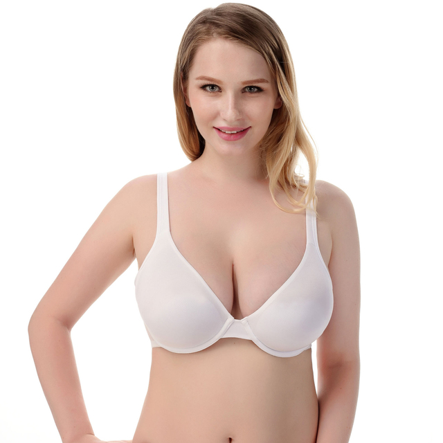 8ddfdc147 Large Cup Bra 32 34 36 38 40 C D E F G Plus Size Women Sexy Ultra-thin  Minimizer White Bras Seamless Push Up Bustier Bralet New