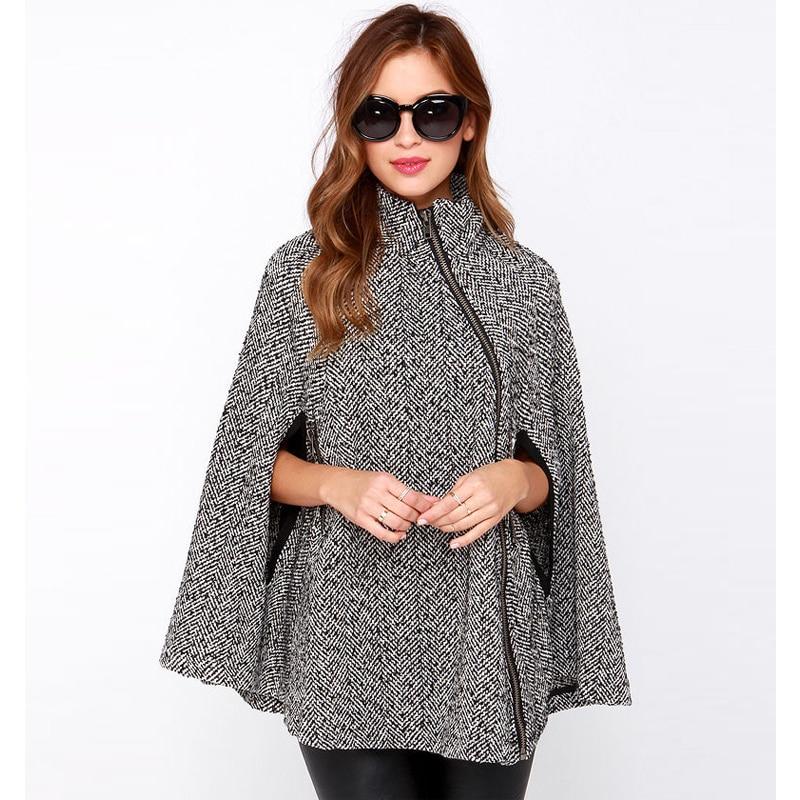 Manteau Outwear Glissière Vêtements Blanc Britannique Mélanges Et Mode Cape De Style Femmes Nouveau Laine Longue Automne 2016 Hiver Poncho xYq0AwRT