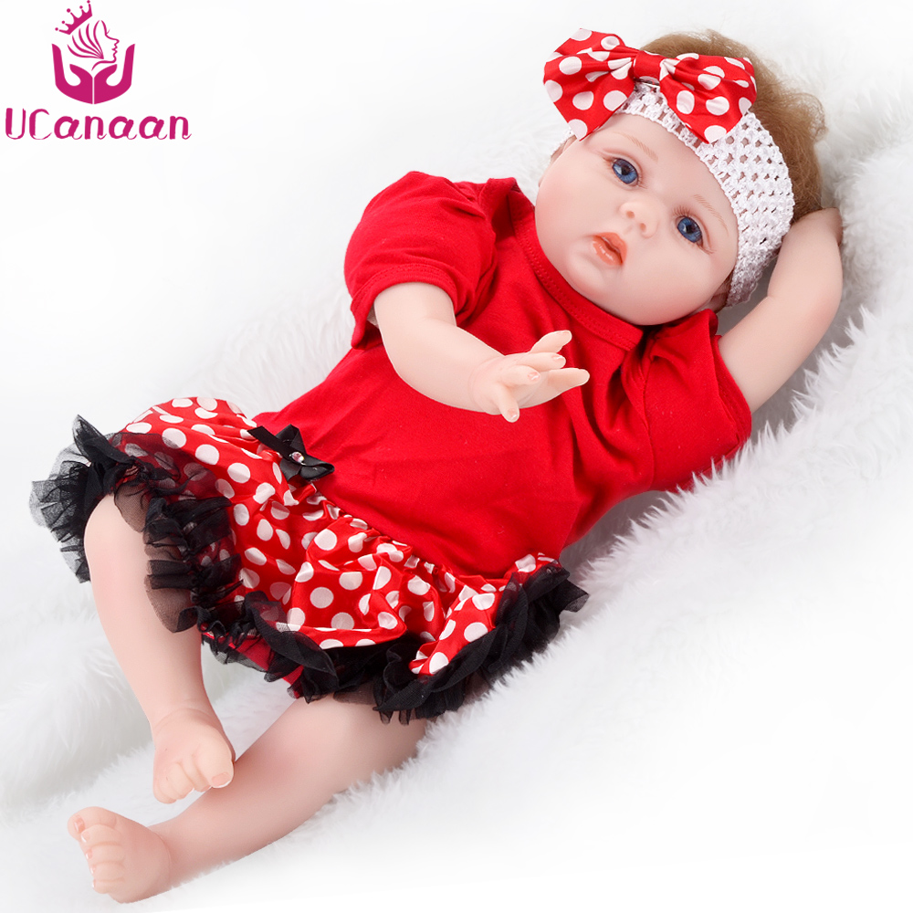 UCanaan 55cm Soft Silicone Doll Reborn Baby 22 Toys For Children Newborn Babies Birthday Gifts Kids Bedtime Early Education Toy ucanaan plush stuffed toys for children kawaii soft 6 colors rabbit bear best birthday gifts for friends doll reborn brinquedos