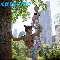 Mother Daughter Matching Clothes Fruit Printed Family Look Pants Outfits Mommy And Me Trousers Girls Women