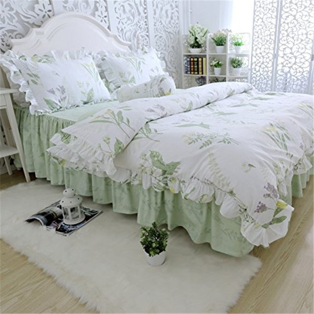 FADFAY Home Textile 100% Cotton Korean Green Country Style Bed Bedding Set  Soft Comforter Sets 4pcs Twin Full Queen King Size