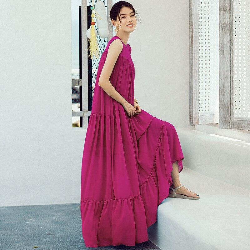 VERRAGEE Pleated A-line Rose Red Floor-Length Women 2018 Summer Sleeveless Chiffon Dress Retro Vintage Maxi Dress