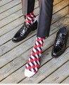 5 пар/лот красочные мужские носки в полоску марка пара Хлопка зимние носки chaussette calcetines hombre homme красочные мужские носки