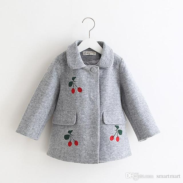 Sweet Girls Wool Blend Coats Outwears Fall Winter Cute Jackets Gray and Red Color Holiday Clothing