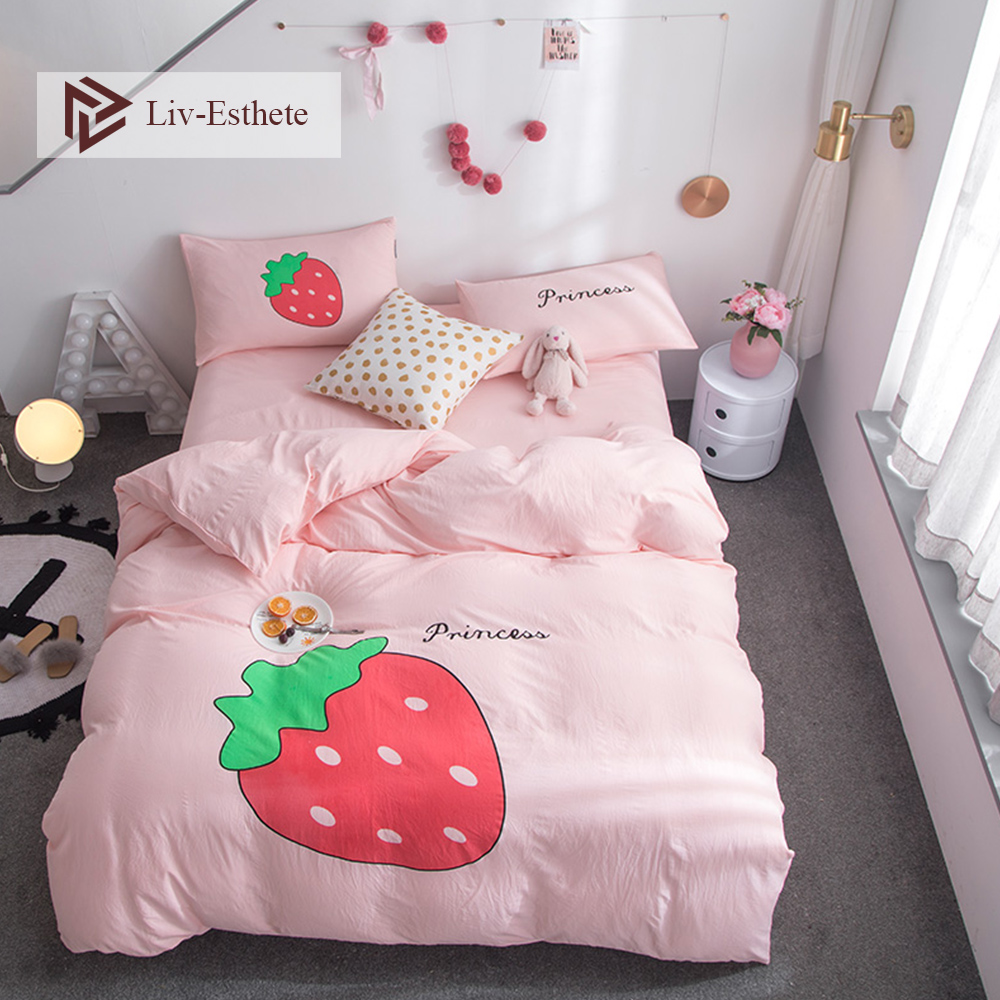 Liv-esthete vente chaude fraise dessin animé parure de lit rose housse de couette drap plat taie d'oreiller Double reine roi linge de lit ensemble de maison