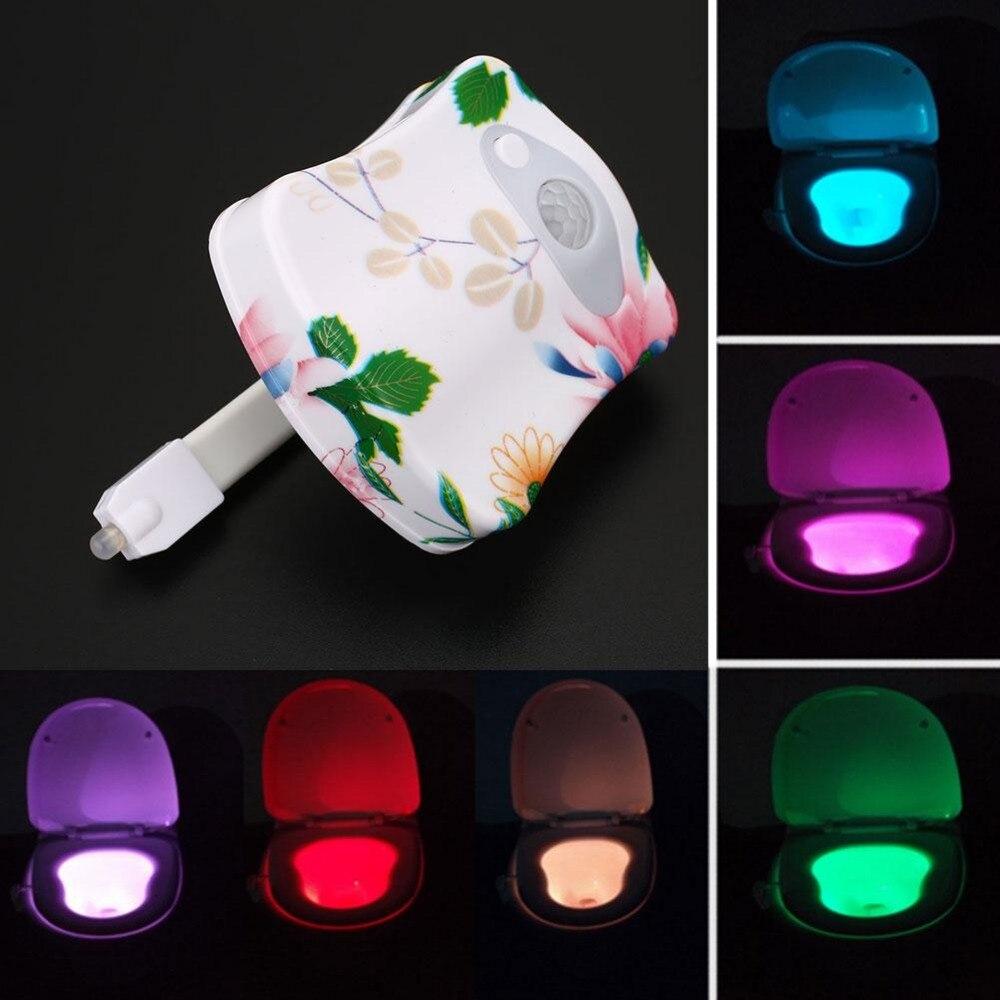 Led night light bathroom - Led Toilet Bowl Bathroom Night Light Sensor Seat Patterned Lamp 8 Colors Led Light
