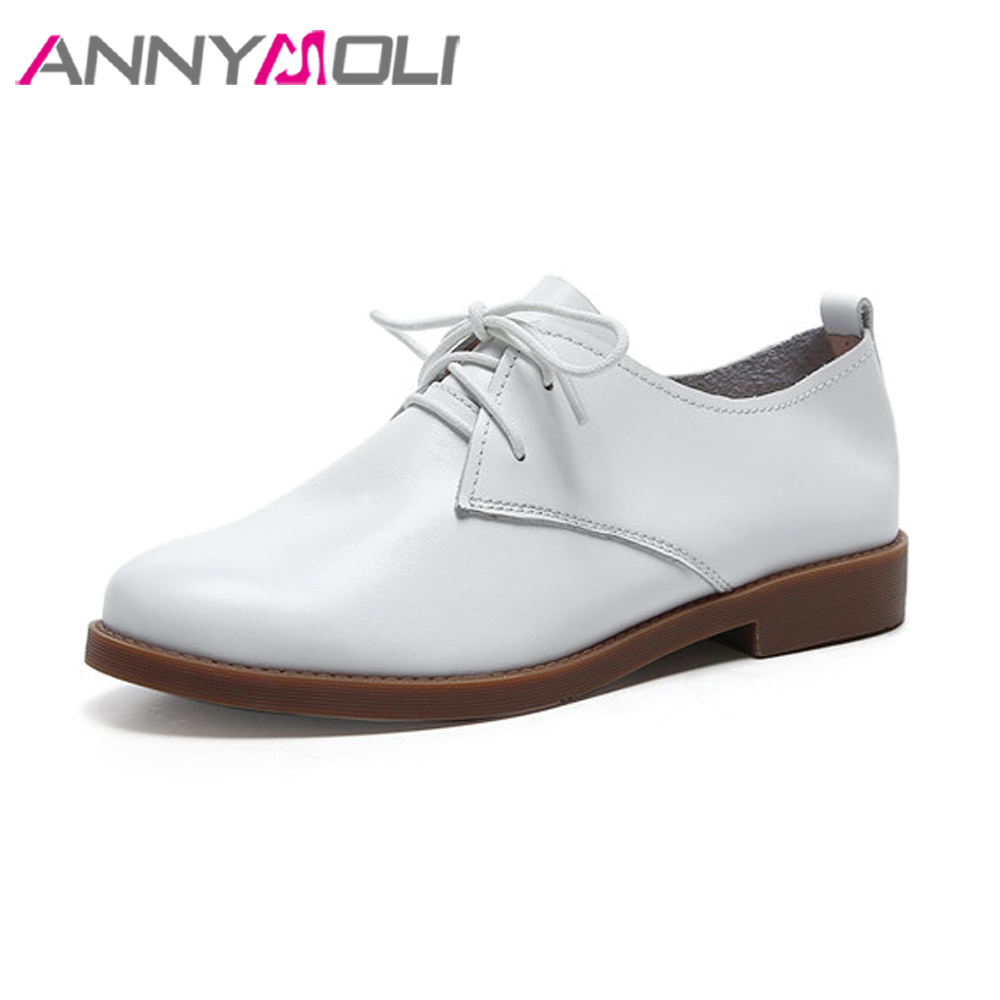 ANNYMOLI Genuine Leather Derby Shoes Women Moccasins Flats Lace Up Shoes Cow Leather Casual Shoes Female Flat Shoes Black White women shoes flat genuine leather hand made ladies flat shoes black brown coffee casual lace up flats woman moccasins 568 5
