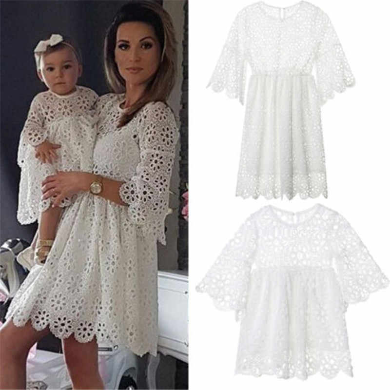 Family Matching Dress Clothes Women Kids Girls Floral Wedding Party Prom Dress Elegant Hollow Out Clothes