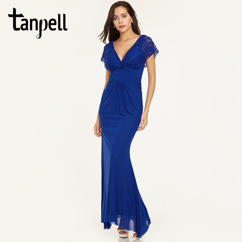 Tanpell straight v neck evening dress dark navy cap sleeves floor length gown lace zipper up formal party long evening dresses