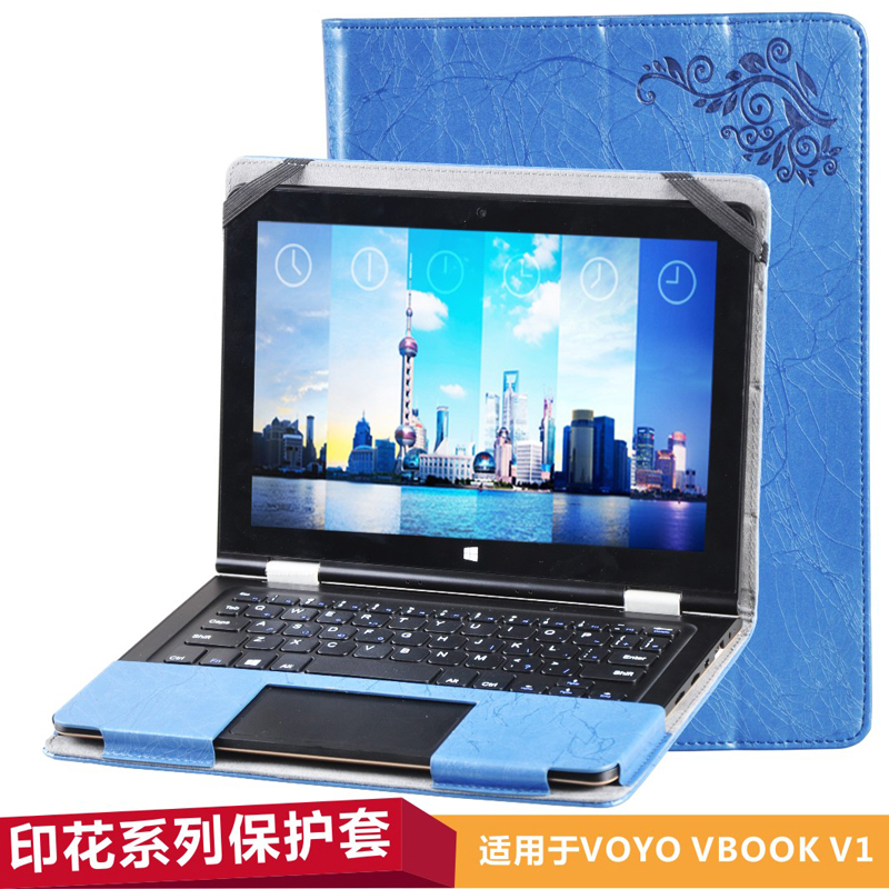 Floral Printed Flip Stand PU Leather Cover Case FFor Voyo VBook V1 10.1 inch Tablet (can put keyboard) Notebook shell Bag+Gift