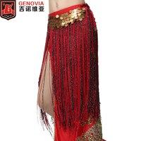 2018 Belly Dance Costume Sciarpa Dell'anca del Pannello Esterno Tribale Lungo Nappa Cinghia Monete D'oro