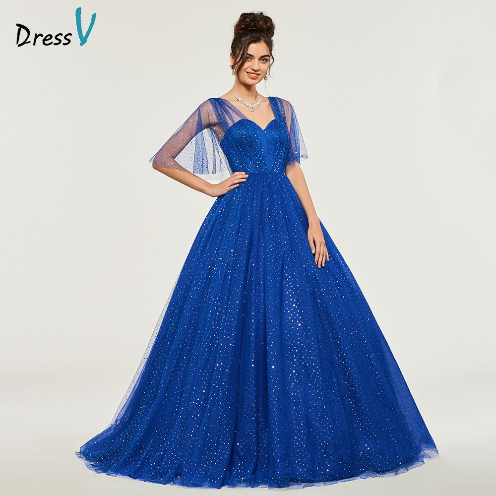 Royal Blue Ball Gown Puffy Quinceanera Dresses Beaded Princess Half Sleeves Sweet 16 Dress Vestidos De Debutante 15 Anos
