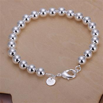 Both men and women can wear the 8MM beads two-piece spherical simple silver suit