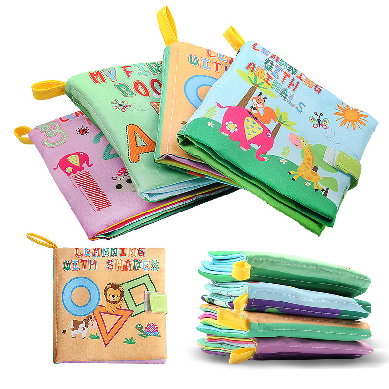 Yobee 4Pcs Infant Early Education Cloth Book Learning Alphabet Animals Number Soft Books for 0-24 Months Baby Toy ...