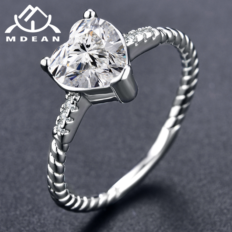 MDEAN White Gold Color Wedding Rings Heart AAA Zircon Engagement Jewelry for Women Engagement Bijoux Bague Size 5-12 H1085