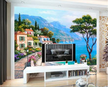 beibehang papel de parede Mediterranean sea garden landscape painting background wall wallpaper wallpapers for living room beibehang mediterranean english kids room papel de parede wallpaper for living room bedroom wall paper background contact paper