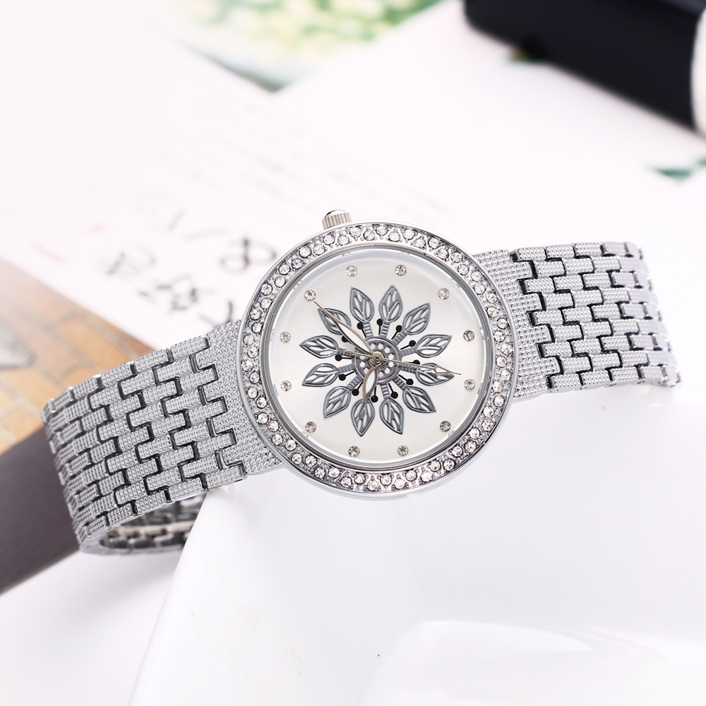 New luxury Watch for Women Metal Bracelet Style Flower Patten Dial Crystal Case Quartz Clock Top Quality wholesale free shipping 5