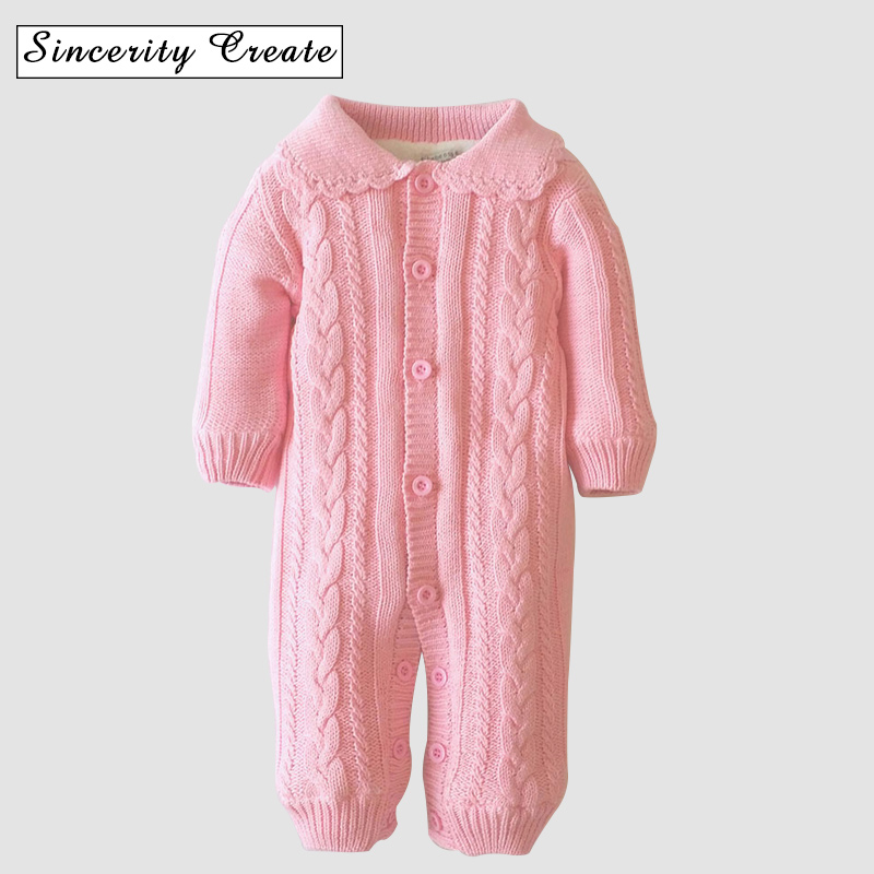 0-18M Knitted One-pieces Cotton Winter Baby Romper Long Sleeve Thick Warm Sweater For Boy Girl Hooded Jumpsuit Outwear ABS-1551 newborn baby romper winter clothes hooded cotton outdoor roupas para recem nascido long sleeve baby boy winter thick 607022