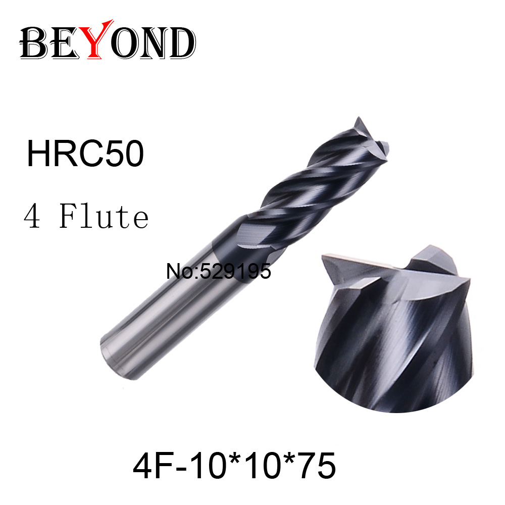 4f-10*10*75,hrc50,carbide End Mills,carbide Square Flatted End Mill,4 Flute,coating:nano,factory Outlet Length