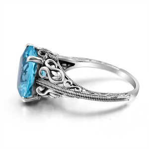Image 3 - Joyería clásica princesa corte azul de luz de la luna cristal anillo de boda 925 Plata mujeres Vintage anillo de compromiso fino traje joyería
