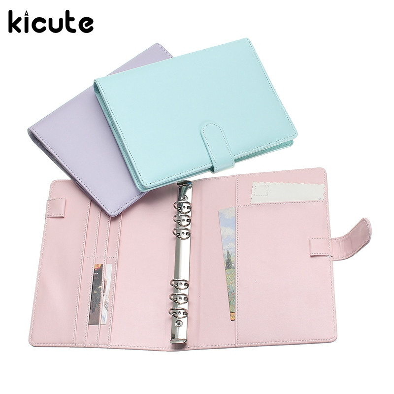 Kicute Candy Color A6 Leather Loose Leaf Refill Notebook Spiral Binder Planner Replacement Cover 6 Hole Loose Leaf Notepad Shell a5 a6 macaron spiral notebook with refill candy color loose leaf notepad planner diary girlfriend gift office school supplies