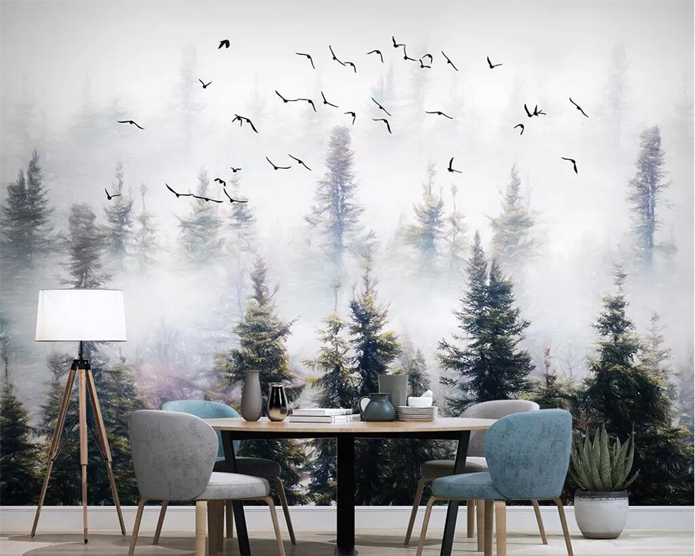 Beibehang Custom Wallpaper Hand Painted Pine Forest Cloud Bird Wallpaper Background Wall Murals Living Room Bedroom 3d Wallpaper Wallpapers Aliexpress