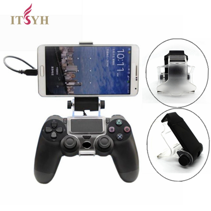 ITSYH Mobile Phone Clamp Holder Smart Clip For Playstation 4 PS4 Game Controller with OTG cable Maximum Spport 6-inch TW-654