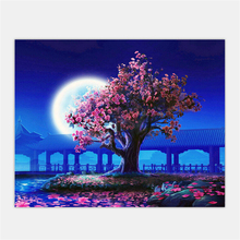 Blossom And Moon. Painting By Numbers Kit. Acrylic.40cmx50cm
