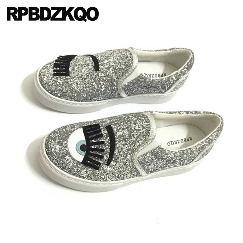 90990aca91 chinese sequin ladies trainers sneakers round toe flats shoes glitter  sparkling women silver china eyelash slip on beautiful