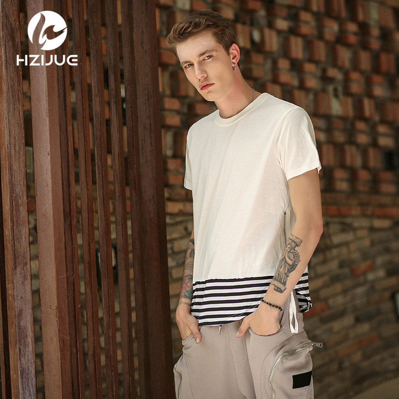 90aaaaeff1 HZIJUE 2017 Summer Curved Hem póló Extended Swag Hip Hop rövid ujjú hosszú  ujjú férfi csíkos patchwork olda.