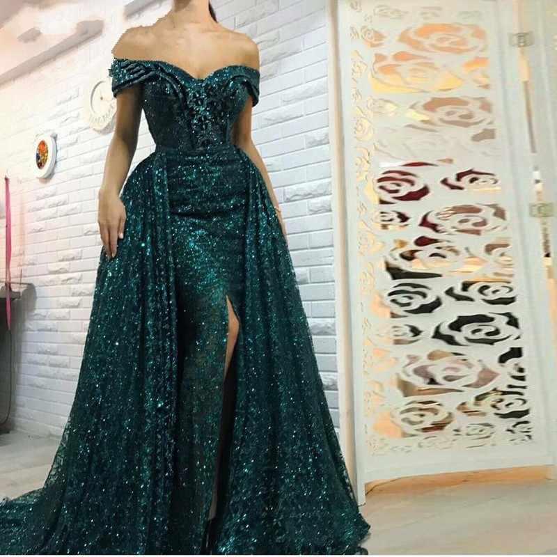Саудовская Арабская темно-зеленое Русалка вечернее платье длинный Съемный Поезд Выпускные платья 2019 Дубай турецкие вечерние платья с открытыми плечами
