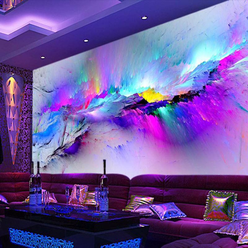Personality Abstract Exaggeration Fresco Restaurant Club KTV Bar 3D Wallpaper Colorful Inkjet Modern Decor Mural Papel De Parede