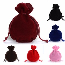 LOULEUR 10pcs/lot 6Color Fashion 7*9cm Velvet Bag Drawstring Pouch Jewelry bag Calabash Shape Packing Wedding/Christmas Gift