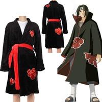 2019 Anime NARUTO Akatsuki Uchiha Itachi Cosplay Costume Night Dress Robe Ninja Coat Set Ring Headband Halloween Sleepwear Gifts
