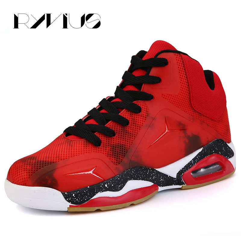 Ryvius High Top Sport Basketball Shoes For Men Big Size 39-45 Air Cushion Sneakers Breathable Outdoor Athletic Basketball Red