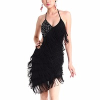 Women Tiered Tassel Fringe Jazz Age Flapper Evening Dance Dress Backless Skirts New Arrival