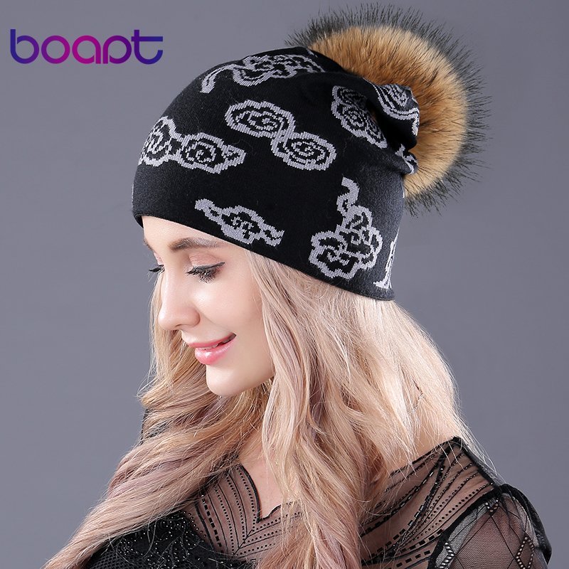[boapt] knitted caps cloud printing natural raccoon fur pompon casual cashmere female winter women's hats   skullies     beanies   hat