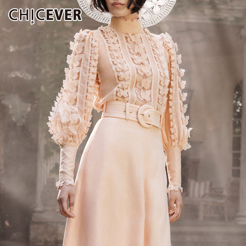 CHICEVER Summer Korean Women's Clothing Stand Collar Long Lantern Sleeve Lace Patchwork Shirt Top Female Fashion New Clothing