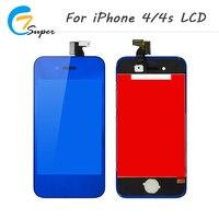 Caliente-verdad azul LCD del espejo para el iPhone 4 4S LCD pantalla táctil con digitizador Asamblea no dead pixel + contraportada + botón