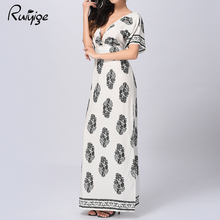 Ruiyige 2017 Vintage Floral Women Dress Floor Length Split Backless Sexy Maxi Dress Ladies V-Neck Tunic Rockabilly Chiffon Robe