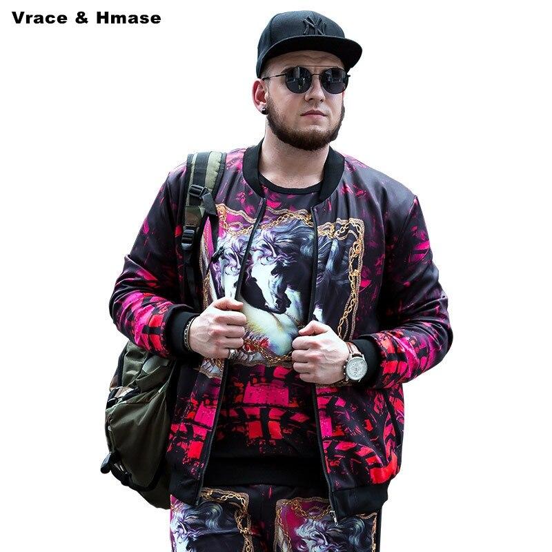 Американский стиль личности 3D животный принт модный тренд куртка оверсайз 2017 Новая высококачественная Толстая теплая зимняя куртка мужска...