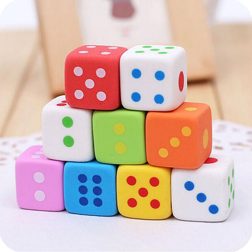 2PCS Kawaii Dice Design Eraser Candy Color Pencil Erasers Rubber Toys Stationery School Office Kids Supplies  (tt-3064)
