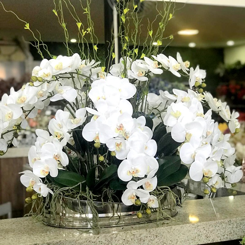 Artificial Orchids 7 Heads PU Silicon Like Hand Feeling Table Fake Flowers