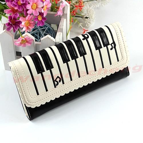 Mina NewFashion Lady Synthetic leather Piano Keys Long Purse Wallet Holder Handbag New mina poe кардиган