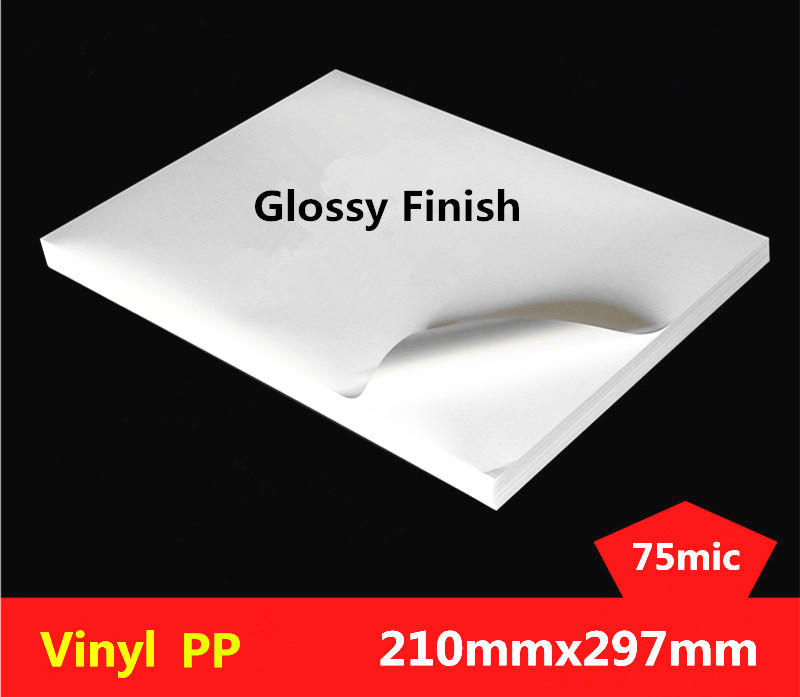 50 Sheets New A4 Size 210mmx297mm White Vinyl PP Sticker Glossy & Matte Label Printing PP A4 Adhesive Sticker For Laser Printer