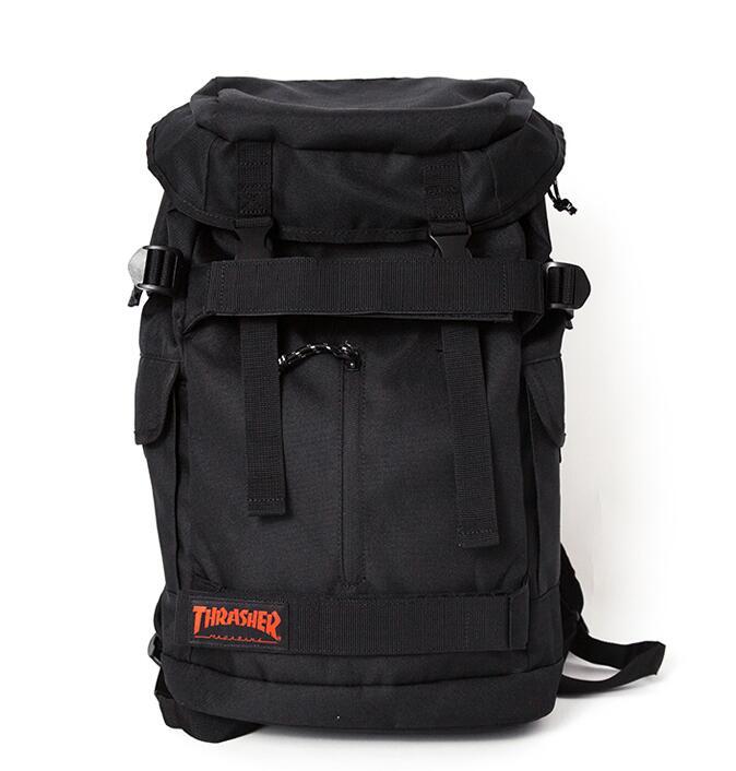 Adult Shoulder Thrasher Skateboard Backpacks Black Canvas School font b Bags b font Big Capacity Outdoor